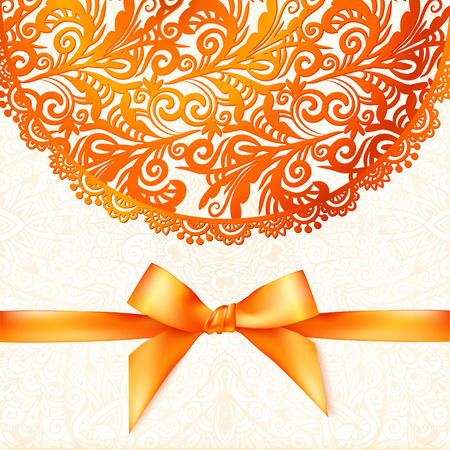 red indian: Ornate vector orange greeting card template