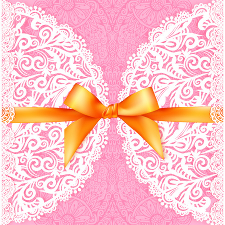 silky: Pink lacy wedding card with orange silky bow