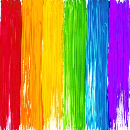 Heldere regenboog penseelstreken achtergrond Stock Illustratie