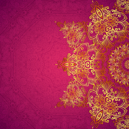 royal wedding: Purple ornate vintage wedding card background Illustration