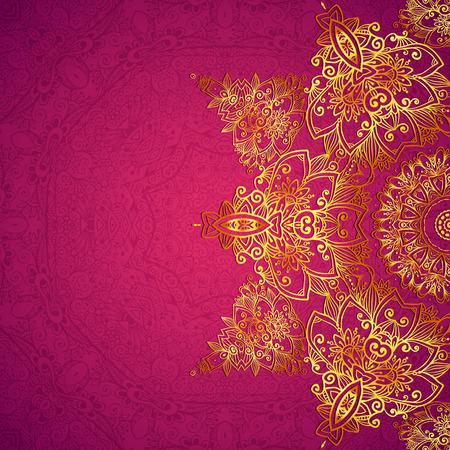 Purple ornate vintage wedding card background Illustration
