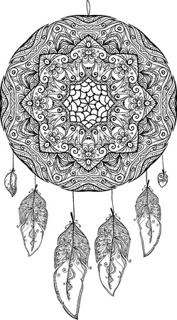 Black and white doodle dream catcher Vector
