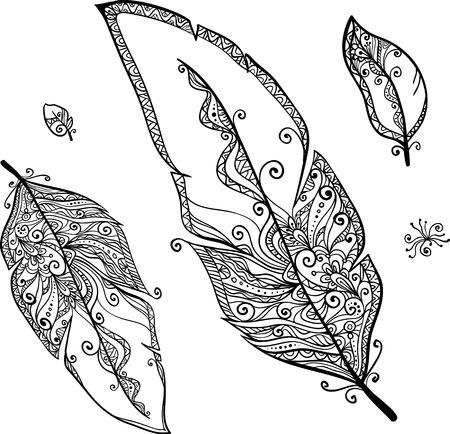 Vector doodle ethno feathers set Çizim