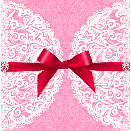lace fabric: Pink lacy vector wedding card template Illustration