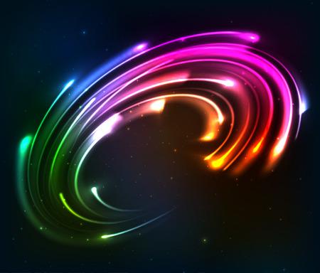 Rainbow colors shining neon lights twirl Ilustração