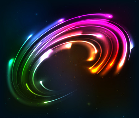 Rainbow colors shining neon lights twirl Illustration
