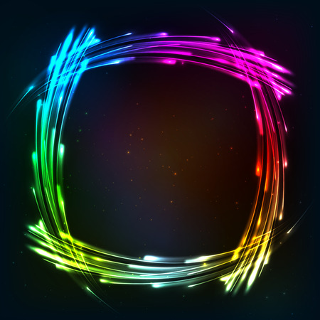 neon lights: Rainbow colors shining neon lights frame Illustration