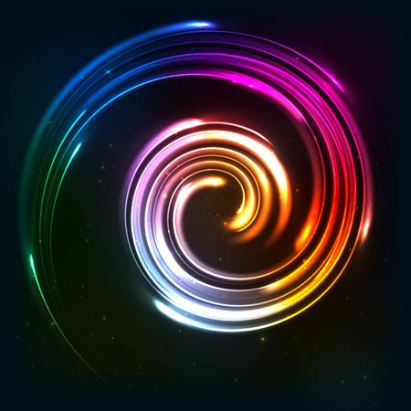 hosszú expozíció: Szivárvány színei fénylő neon lámpák pörget Illusztráció