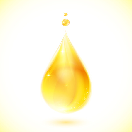 reflection in water: Vector realistic yellow oil drop