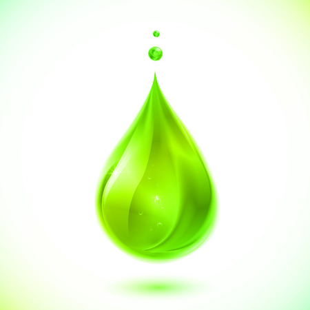 Green liquid vector drop