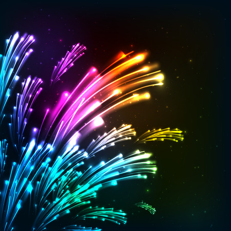 Rainbow colors neon vector fireworks Illustration
