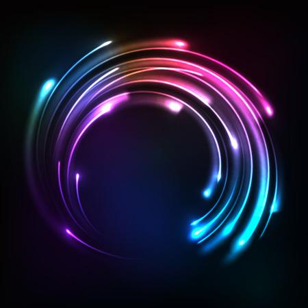 Shining rainbow neon lights circle frame Ilustração