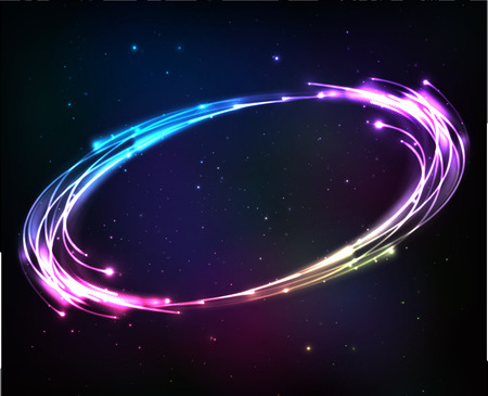 Shining neon lights cosmic abstract frame Иллюстрация