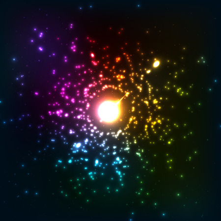 cosmic rays: Colorful vector cosmic explosion
