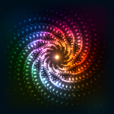 nombre d or: Abstract rainbow neoncosmic fond spirale Illustration