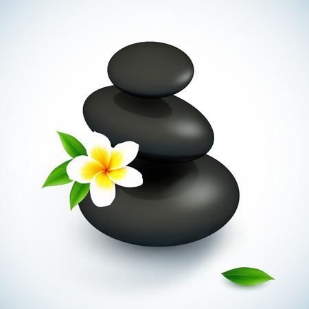 bamboo therapy: Black spa rocks pyramid with frangipani flower Illustration