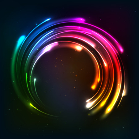 Arc en ciel lumineux cadre néons cercle Vecteurs