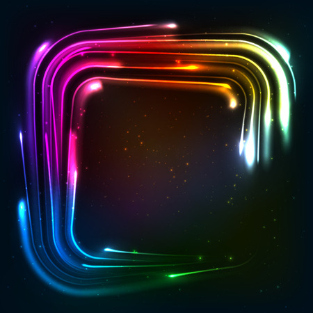 neon lights: Shining rainbow neon lights squared frame