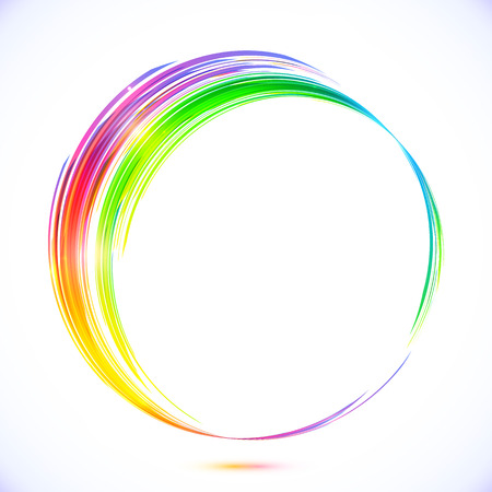 rainbow color star: Rainbow vector abstract circle frame