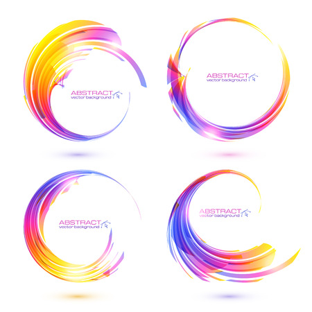Set of colorful circle abstract frames