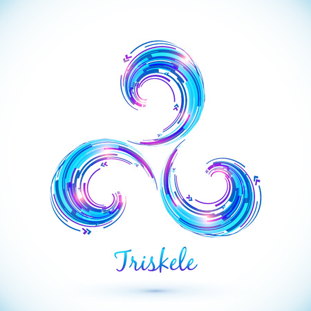 Blue abstract vector triskele symbol Illustration