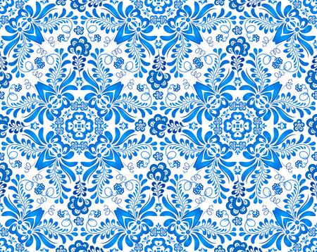 Blue floral seamless pattern in Russian gzhel style Vector