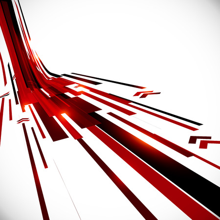Abstract vector black and red perspective techno background Çizim