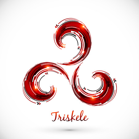 Red abstract vector triskele symbol Illustration