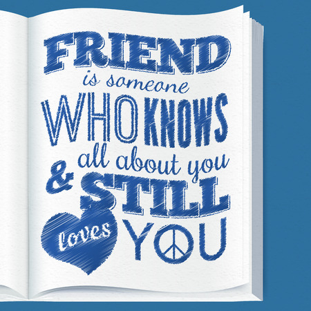 knows: Typography design on book page with quote about friendship