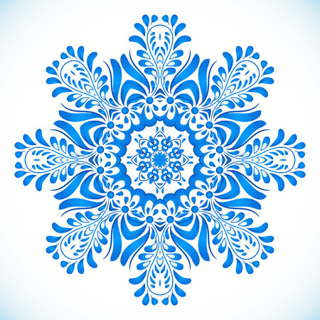 gzhel: Blue floral circle pattern in gzhel style