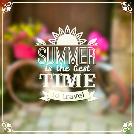 bycicle: Summer time typography design on blurred background