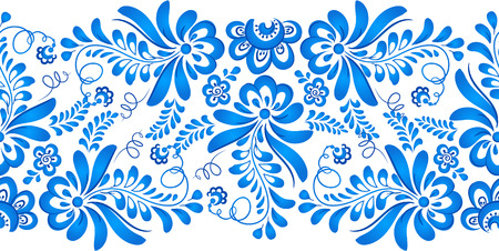 gzhel: Blue floral ornament in Russian gzhel style Illustration