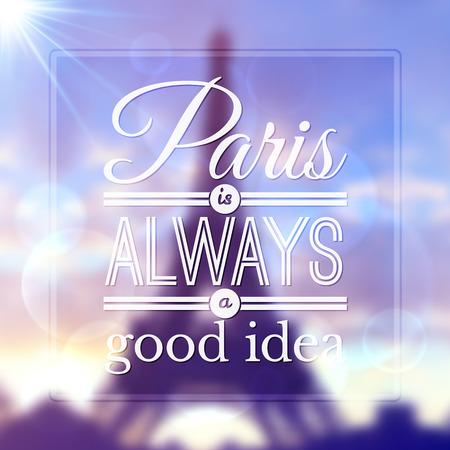 toning: Paris typographic design on blurred Eiffel tower background