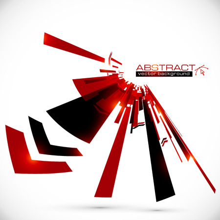 Abstract red and black shining lines background Ilustração