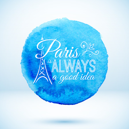 Blue watercolor circle with Paris modern text design Vector