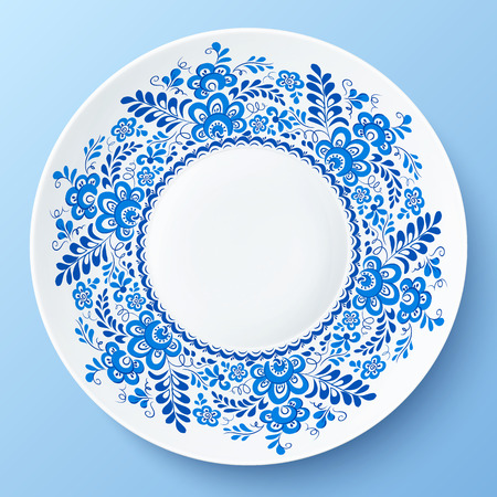 gzhel: Blue plate with floral ornament in gzhel style