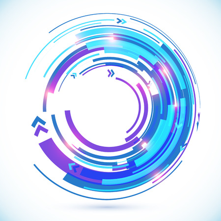 techno background: Abstract blue techno spiral background