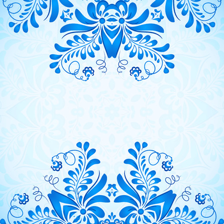 gzhel: Blue greeting card template with floral pattern in gzhel style