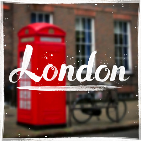 bycicle: London calligraphy sign on blurred background Illustration