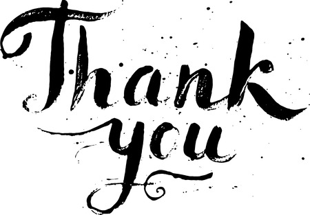 thank you sign: Hand drawn calligraphic design for sign Thank you