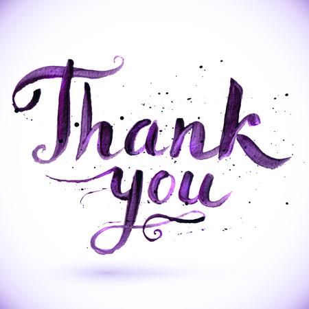 te negro: Dibujado a mano de dise�o caligr�fico para la muestra de Gracias