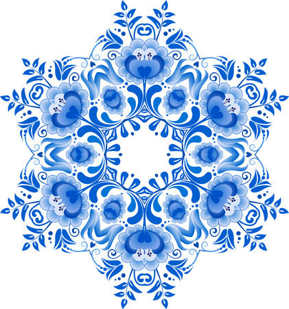 Blue floral circle pattern in gzhel style photo