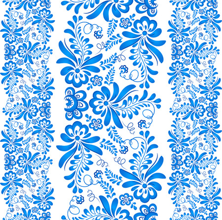 gzhel: Blue floral ornament in Russian gzhel style Stock Photo