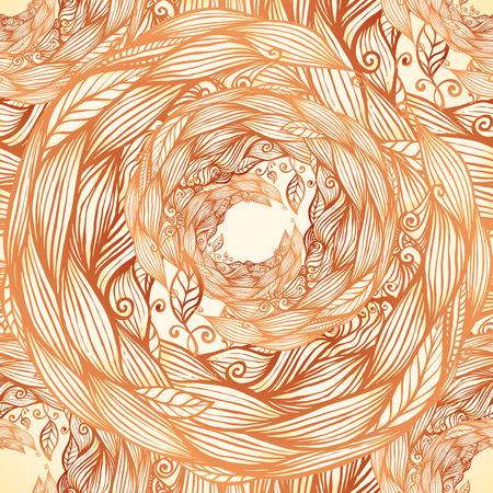 Vintage colors doodle hair waves seamless pattern photo