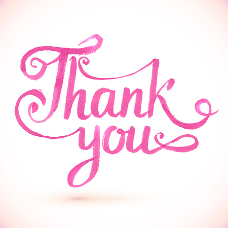 Pink vector Thank you hand-drawn sign