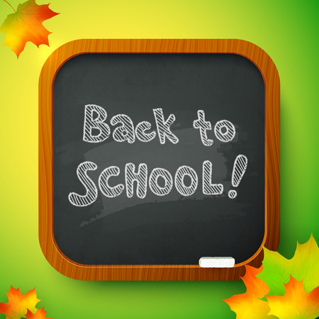 Chalk Back to School sign on black school board Vector