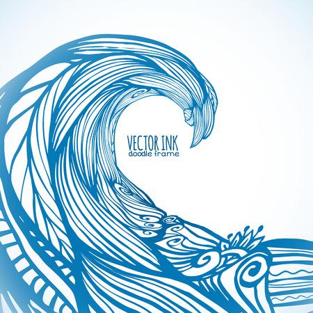Blue ornate doodle wave, vector background Illustration