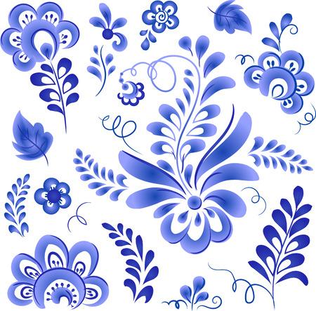 gzhel: Blue floral elements in Russian gzhel style Illustration