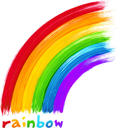 Acrylic painted rainbow, vector image Stock Illustratie
