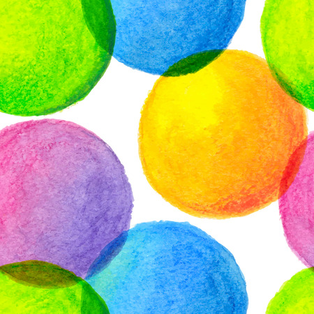 Bright rainbow colors watercolor painted circles seamless pattern Illustration